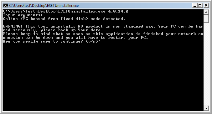 At the first command prompt, read the warning and type  y  to confirm